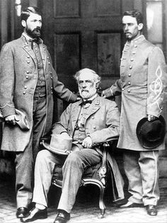 From L-R General Lee's son, George Washington Custis-Lee, General Robert E. Lee, and Walter Taylor.  This photograph was taken just days after his surrender at Appomattox by the famous Matthew Brady behind General Lee's home in Richmond, VA.