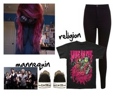 """""""{ Mannequin Religion: Woe is me }"""" by that-weirdo987 ❤ liked on Polyvore featuring moda, Miss Selfridge, Converse, lyrics, woeisme, music4lyfeee e WIM"""