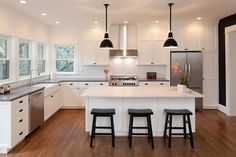 Gray Barstools, Transitional, kitchen, Benjamin Moore White Dove ...