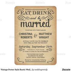 Vintage Poster Style Rustic Wedding Invitations