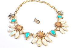 Mint Sparkle Floral Necklace Set