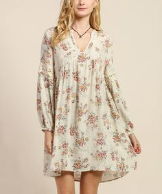 Ivory Floral Crochet-Accent Shift Dress #zulily #zulilyfinds would be pretty with a lace skirt extender