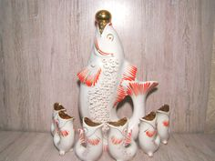 Vintage Porcelaine Pitcher Set Soviet Vintage Carafe Set Retro Decanter Set USSR Fish Drinkware Set Soviet Houseware Vintage Gift for Her