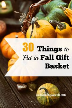 What better way to celebrate the changing seasons than a Fall Gift Basket. Here are 30 ideas of what to put in it. Your friends and family will be delighted to receive. Have a look.