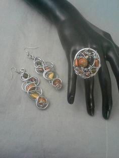 Earrings and Ring Set Aluminum Wire Ring Beaded Bracelet