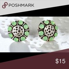 Light green/silver circle studs-Brighton inspired Cute green and silver stud,  Brighton knock offs, marked as Brighton. Brighton Jewelry Earrings