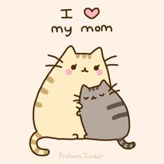Pusheen the cat hugs his mom. I love my mom pose! pusheen is a girl. Chat Pusheen, Pusheen Love, Pusheen Stuff, Chibi, Crazy Cat Lady, Crazy Cats, I Love Cats, Cute Cats, Chat Kawaii