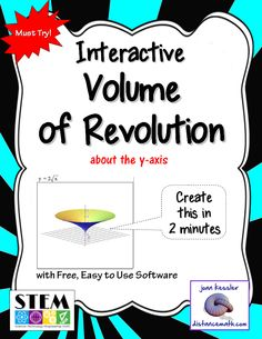 "Awesome Simulations (Or Clip Art Maker) for AP Calculus AB and Calculus BC and College Calculus 2. WOW your classes with LIVE interactive math explorations and animations. Easily demonstrate and explore the volume of revolution in your classroom as never before. Incorporate this applet into your traditional lessons, Power Points, or Smart Board lessons or use as a free standing ""app"" to explore with your class."