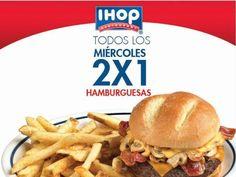 La cadena de restaurantes IHOP cuentan con una buena promoción los días miércoles, pues tienen 2×1 en hamburguesas.  Esta promoción no se especifica vigencia, aunque podría estar un largo tiempo, te recomendamos preguntar en sucursales por la promoción si aún es válida.