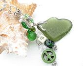Sea Glass Keyring Olive Green with Peace sign and Chinese Symbol Beaded Swinging Dangle Keychain