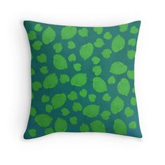 American Basswood Pop Art Pillow Cover, Green Leaves Pillow, Nature Pillow Cover, Gifts for Her, Nature Lover Gift, Botanist Gift, Blue