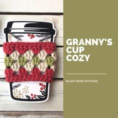 Free cup cozy crochet pattern crochet ideas Granny's Cup Cozy Crochet Pattern Crochet Coffee Cozy, Coffee Cup Cozy, Crochet Cozy, Crochet Geek, Crochet Gifts, Easy Crochet, Crochet Chain, Crochet Granny, Coffee Cozy Pattern