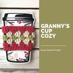 Free cup cozy crochet pattern crochet ideas Granny's Cup Cozy Crochet Pattern Crochet Coffee Cozy, Coffee Cup Cozy, Crochet Cozy, Crochet Geek, Crochet Gifts, Easy Crochet, Crochet Chain, Granny Square Crochet Pattern, Crochet Patterns