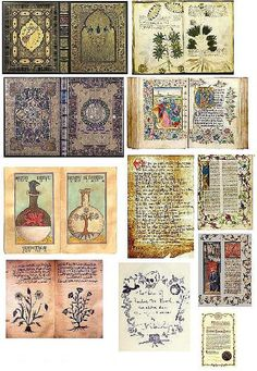 Dollar Store Dollhouse: Dollhouse Printies - Miniature Old Medieval Books & Pages Alchemy book pages 😍 Diy Dollhouse Books, Haunted Dollhouse, Haunted Dolls, Dollhouse Miniatures, Dollhouse Ideas, Medieval Books, Medieval Art, Vitrine Miniature, Miniature Dolls