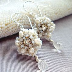 Athalie Earrings | Dainty Floral Lace Bridal Earrings- Silver, Pearls, Crystals