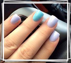 "Blue and Lavender Gel Nails (Essie gel "" Frisky Feminity"") By Tom Long Nguyen."