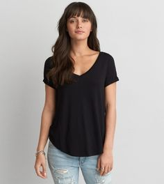 True Black AEO Soft & Sexy Favorite T-Shirt