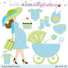 Boy Baby Shower Cute Digital Clipart - Commercial Use OK - Baby Shower Clipart, Baby Carriage, Pregnant Woman Clipart