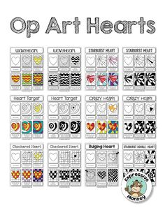 Op Art Hearts is the perfect art lesson for Valentine's Day! See the art techniques that make these these hearts really pop! Op Art Lessons, Art Lessons Elementary, Drawing Lessons, Middle School Art, Art School, Ecole Art, Virtual Art, Valentines Art, School Art Projects