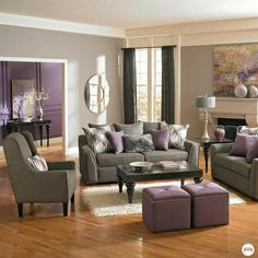Purple And Grey. Gray Living RoomsLiving Room ...