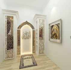 47 Praying Room Interior Design That You Can Try In Your Home # Design Room Interior Design, Home Room Design, Home Interior, Prayer Corner, Islamic Decor, Arabic Decor, Prayer Room, Prayer Closet, House Rooms
