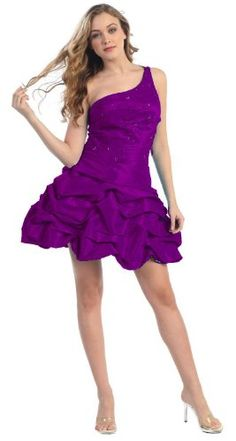 One Shoulder Pick-up Cocktail Dress Prom #708 (8, Purple) « Stylish And Accessories