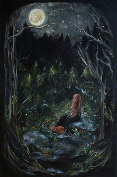 A Life of Fairy Tales — dreamsinthyme: A Bright Night Art And Illustration, Witch Art, Moon Art, Oeuvre D'art, Magick, Wicca, Faeries, Dark Art, Fantasy Art
