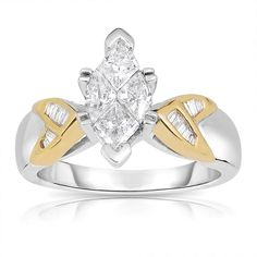 Eloquence 14k Gold 1 1/10ct TDW Marquise Diamond Ring