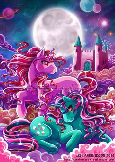 Above the Clouds by AnnieMsson.deviantart.com on @deviantART Fizzy and Galaxy Twinkle Eyed G1 My Little Pony unicorns 1980's