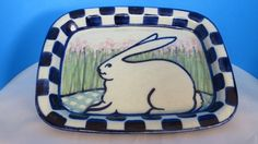 CERAMIC-THE CLAY RABBIT BLUE & WHITE CHECKED PLATE