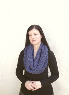 Shop for on Etsy, the place to express your creativity through the buying and selling of handmade and vintage goods. Chunky Scarves, Cowl, Infinity, Knitting, Trending Outfits, Crochet, Blue, Etsy, Fashion