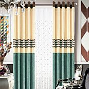 (One Panel) Chenille Modern Polyester Lined curtains