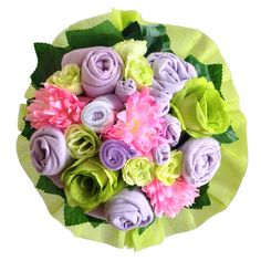 Looking for a unique gift?Baby bouquet by Baby Buket is a perfect gift for baby shower, newborn baby and birthday.   #babybouquet#babybuket#pink#flowers#newborngift#babyshower#gift#purple