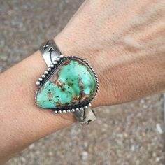 Green Royston Turquoise Stackable Stamped Cuff Bracelet | Unique & Stylish Sterling Silver Exotic Stone Jewelry