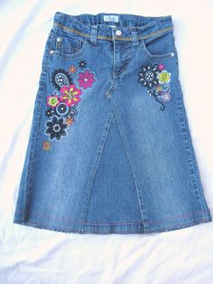 c12b3eed9e Upcycled Girls Denim Skirt with Embroidered Multicolored Flowers, Made from  Jeans, Size 8.