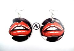 Ashlei Shannon Black and White Art Deco Lips Earrings