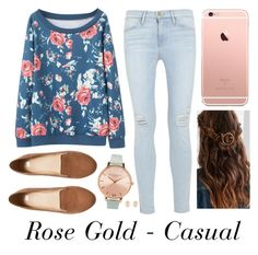 Rose Gold - Casual by musiclover4701 on Polyvore featuring polyvore, fashion, style, Frame Denim, H&M, Olivia Burton, Kenneth Jay Lane, women's clothing, women's fashion, women, female, woman, misses and juniors