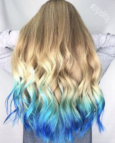71 most popular ideas for blonde ombre hair color - Hairstyles Trends Blonde And Blue Hair, Blonde Hair With Blue Tips, Blonde Ombre Hair, Blonde Tips, Colored Hair Tips, Brown Ombre Hair, Grey Hair, Hair Dye Tips, Dyed Tips