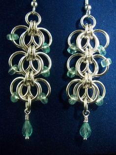 Sterling Siver & Apatite Chainmaille Earrings Orchid