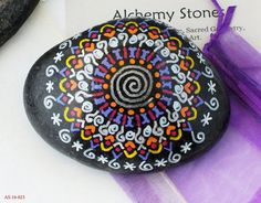 Larger Hand Painted Alchemy Stone with Purple by AlchemyStones Purple Yellow, Sacred Geometry, Alchemy, Spiral, Larger, Mandala, Stones, Decorating Ideas, Hand Painted
