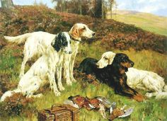 Arthur Wardle - At The End Of The Day - A Group Of Four English Setters