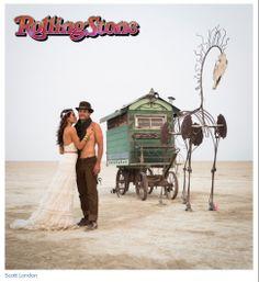 YolanCris in Rolling Stone Magazine. Burning love Neysa & Kevin.  #burningman #Rollingstone #weddingdress #bridalgown #realbrides #hautecouture #handmade #desert #nevada #art #love