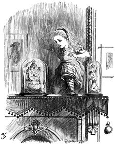 """""""In another moment Alice was through the glass, and had jumped lightly down into the Looking-glass room."""" – Through the Looking Glass by Lewis Carroll. Illustration by John Tenniel."""