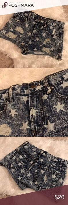 High rise denim shorts Like new! Super cute denim shorts with stars. Only selling because they're a bit too short for my liking :) Forever 21 Shorts Jean Shorts