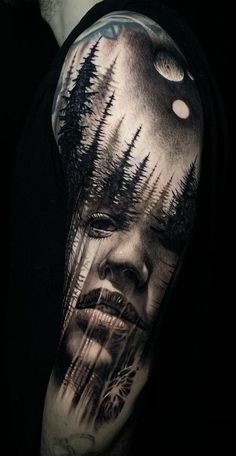 Beautiful Surrealist Double-Exposure Tattoos Mash Up People, Architecture & Nature- awesome double exposure tattoos© tattoo artist Jak Connolly Jak connolly 💕💕💕💕💕 Realistic Tattoo Sleeve, Nature Tattoo Sleeve, Full Sleeve Tattoos, Tattoo Sleeve Designs, Girl Face Tattoo, Girl Tattoos, Tattoos For Guys, Neue Tattoos, Body Art Tattoos