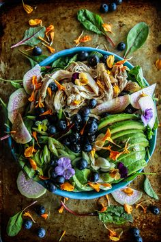 Chicken, Blueberry Avocado Power Salad with Balsamic-Honey Dressing | Heather Christo