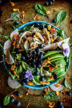 Chicken, Blueberry Avocado Power Salad with Balsamic-Honey Dressing from HeatherChristo.com