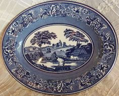 DAHER England DECORATED WARE Tin Platter Blue White Metal Plate Country Gondola