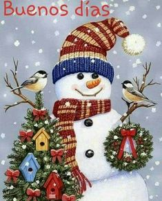 Snowman and Birds pieces) Good Morning Christmas, Merry Christmas To You, Christmas Snowman, Christmas Time, Christmas Ornaments, Christmas Cards, Snowman Quilt, Sad Pictures, Cross Paintings