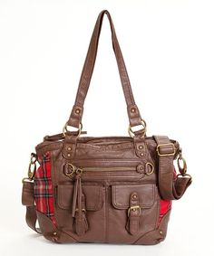 Loving this Chocolate Wallflower Robyn Plaid Tote on #zulily! #zulilyfinds
